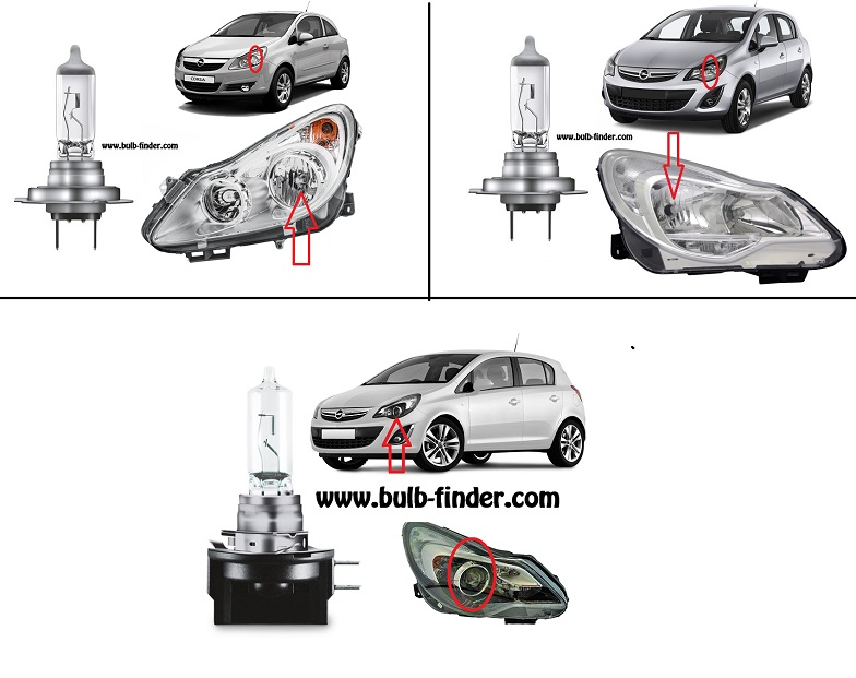 Vauxhall Corsa IV bulbs specification for halogen headlamp