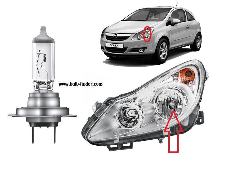 Vauxhall Corsa mk4 bulbs specification for halogen headlamp