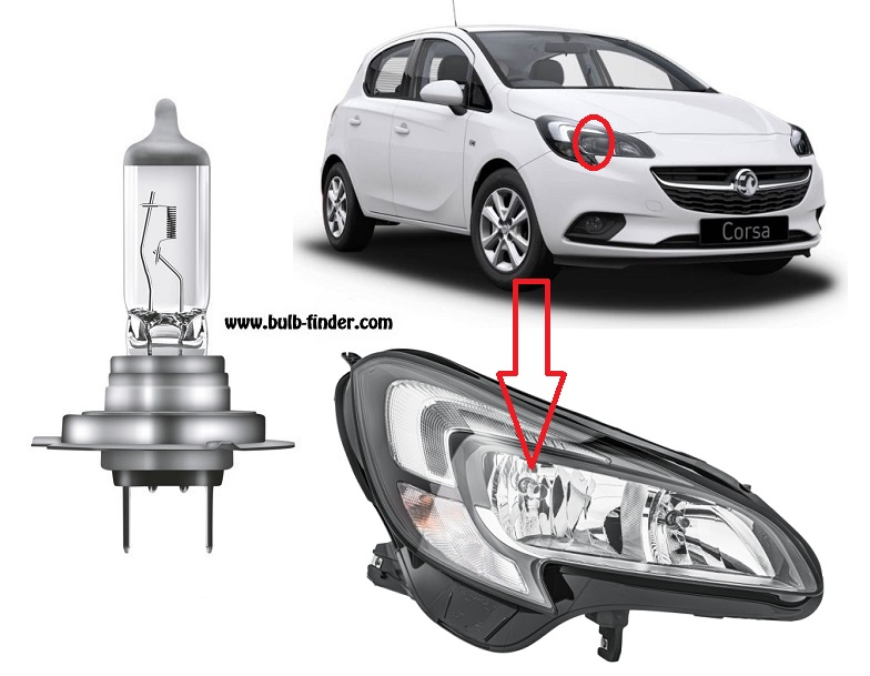 Vauxhall Corsa V bulbs specification for halogen headlamp