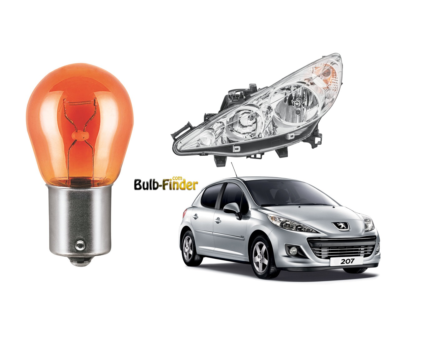 Peugeot 207 bulb spec for headlamp turn signal bulbs
