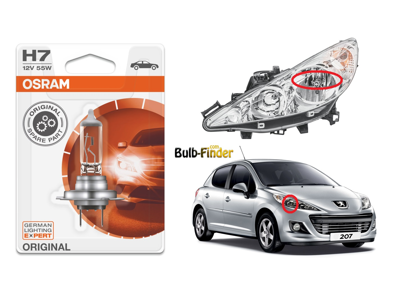 Peugeot 207 bulbs specification for halogen headlamp