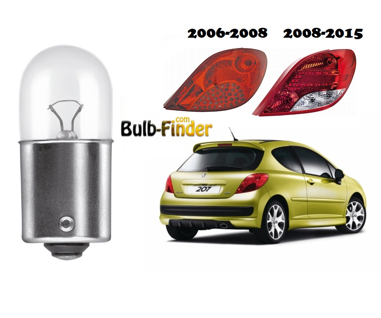 Peugeot 207 tail light bulb model