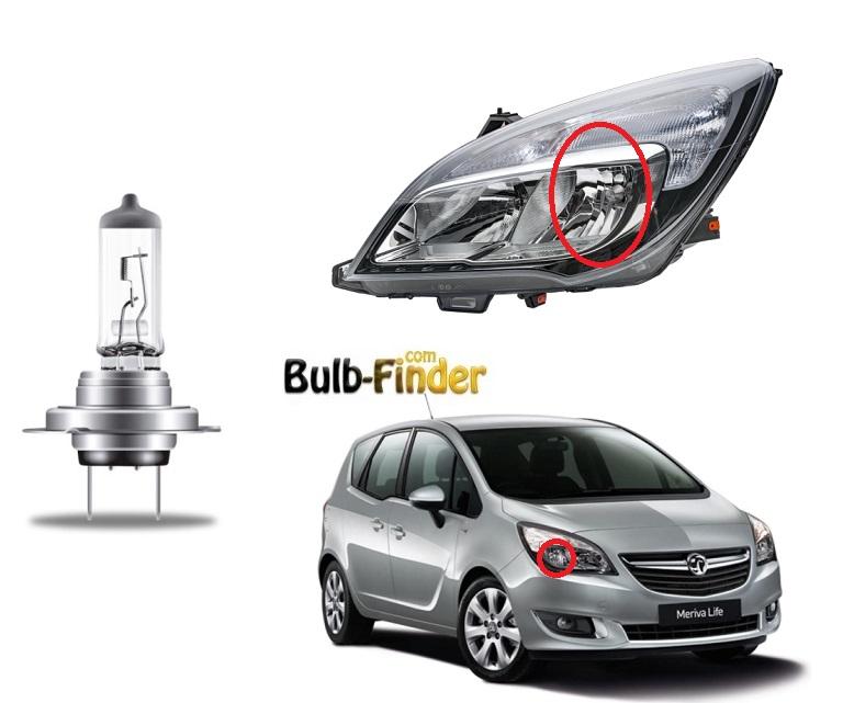 Vauxhall Meriva mk2 facelift low beam bulb model