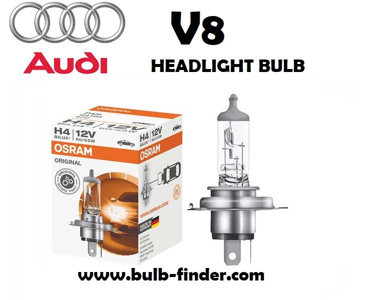 Audi V8 headlight bulb finder