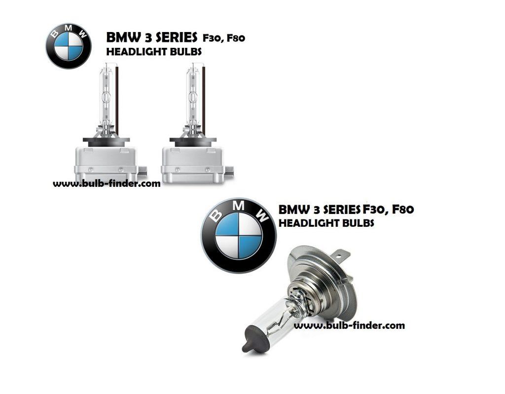 BMW 3 Series F30, F80 bulbs headlight models