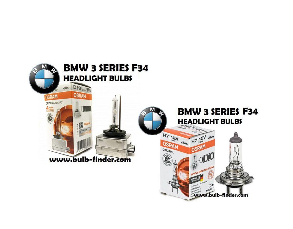 BMW 3 Series F34 headlight bulbs model