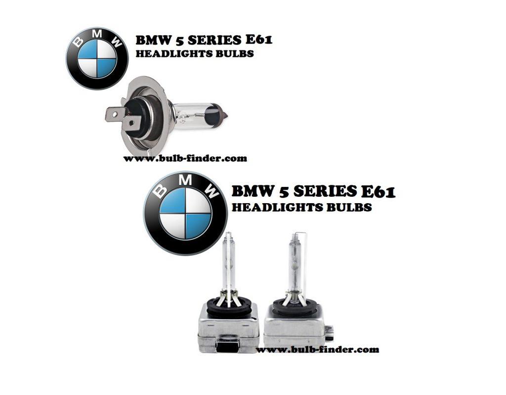 BMW 5 Series E61 headlights bulbs model