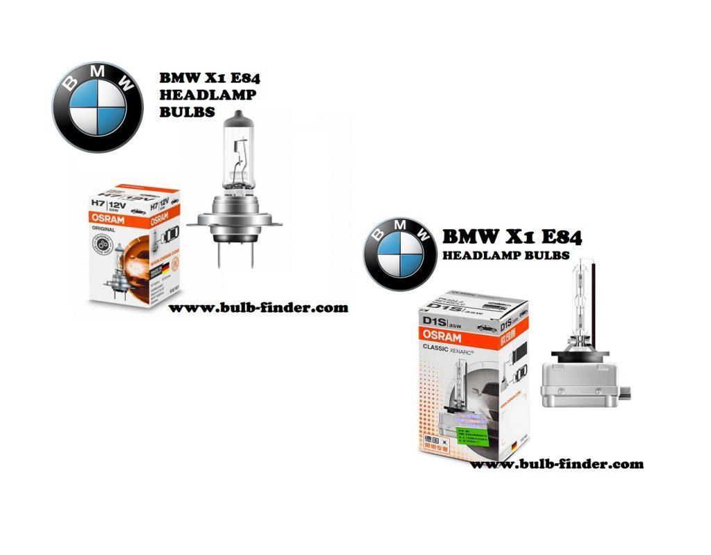 BMW X1 E84 front headlamps bulbs type