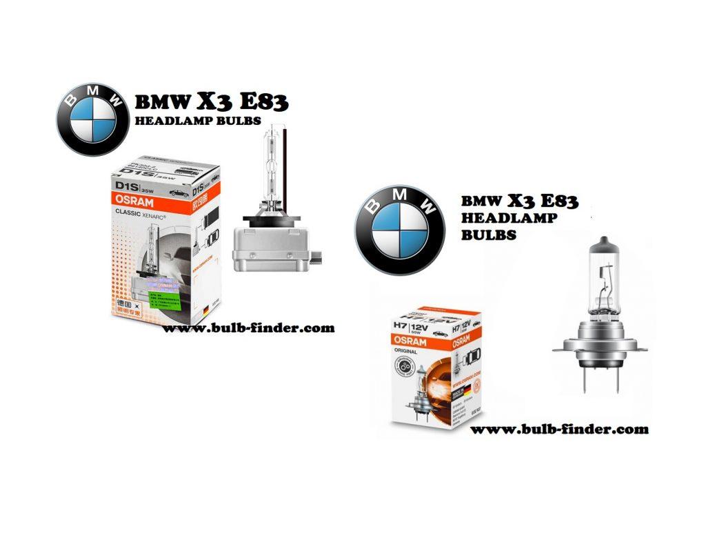BMW X3 E83 front headlamps bulbs type