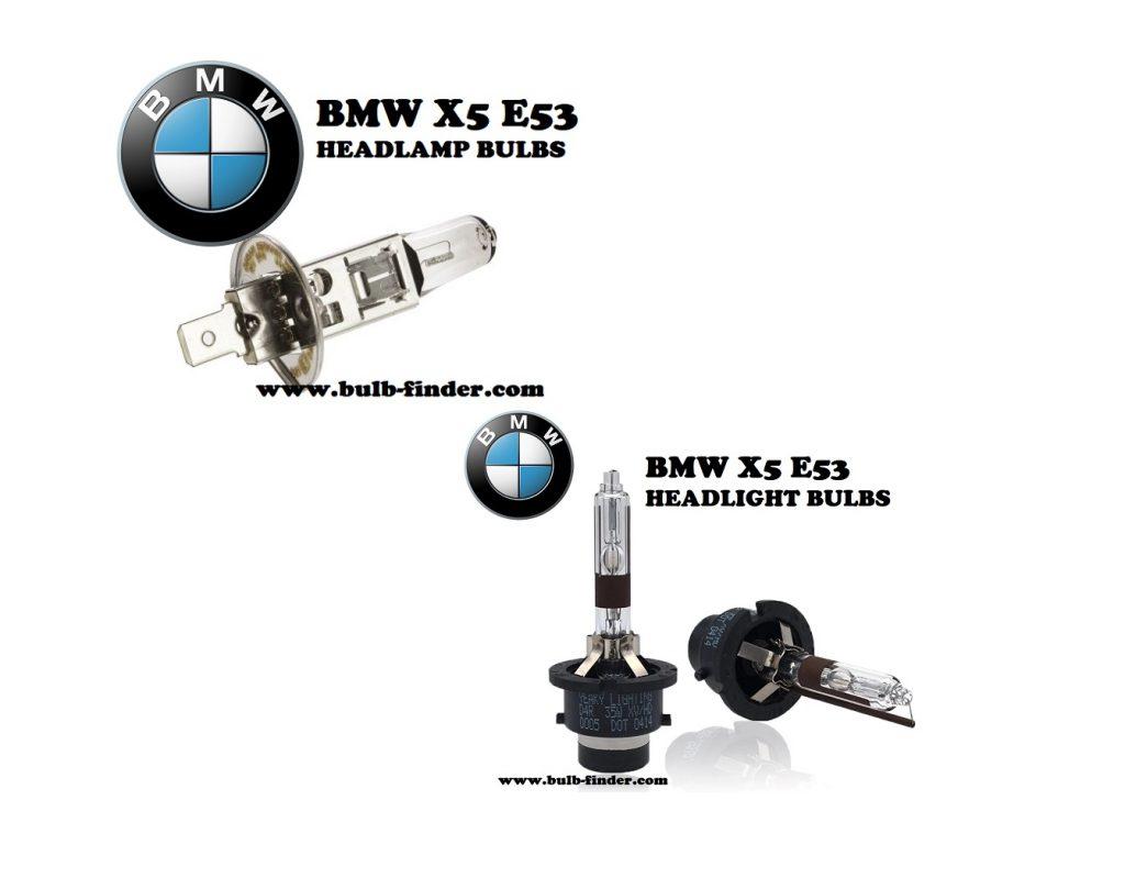 BMW X5 E53 front headlamps bulbs type