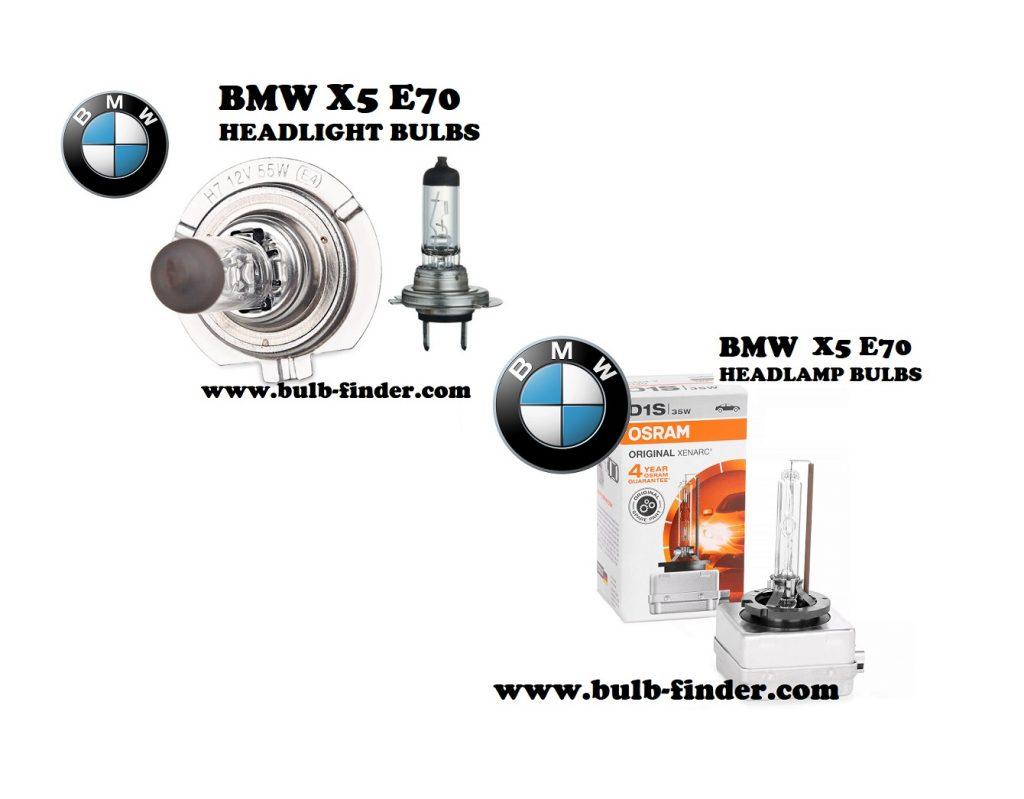 BMW X5 E70 front headlamps bulbs type