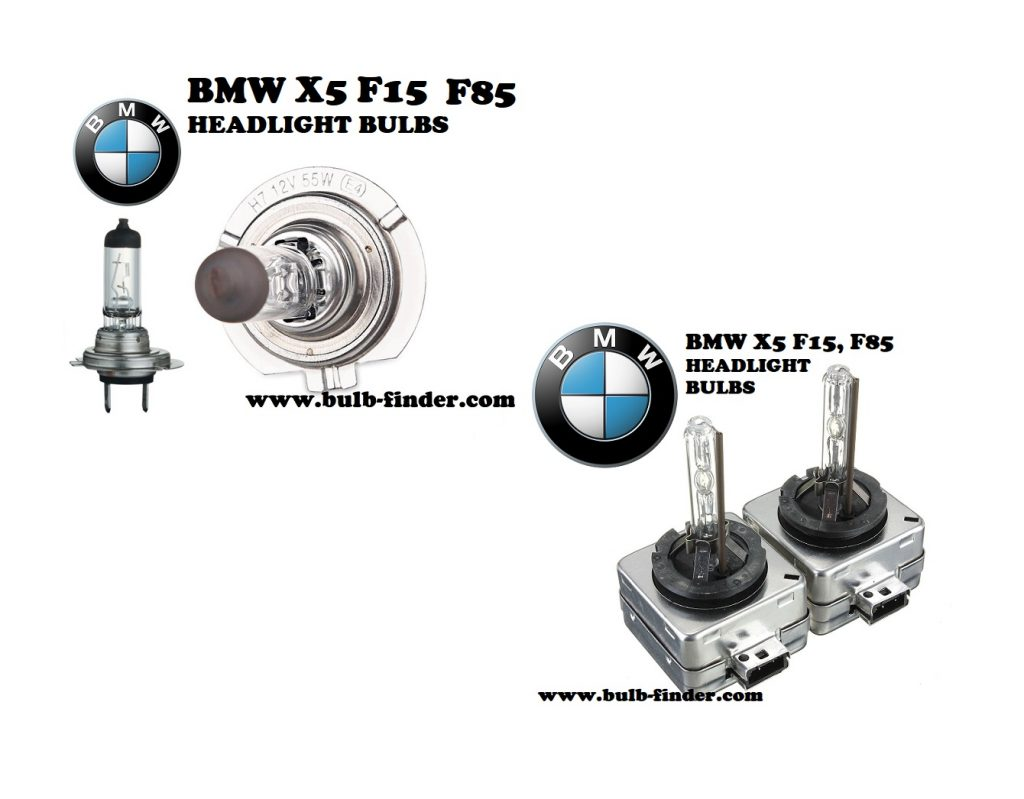 BMW X5 F15, F85 front headlamps bulbs type