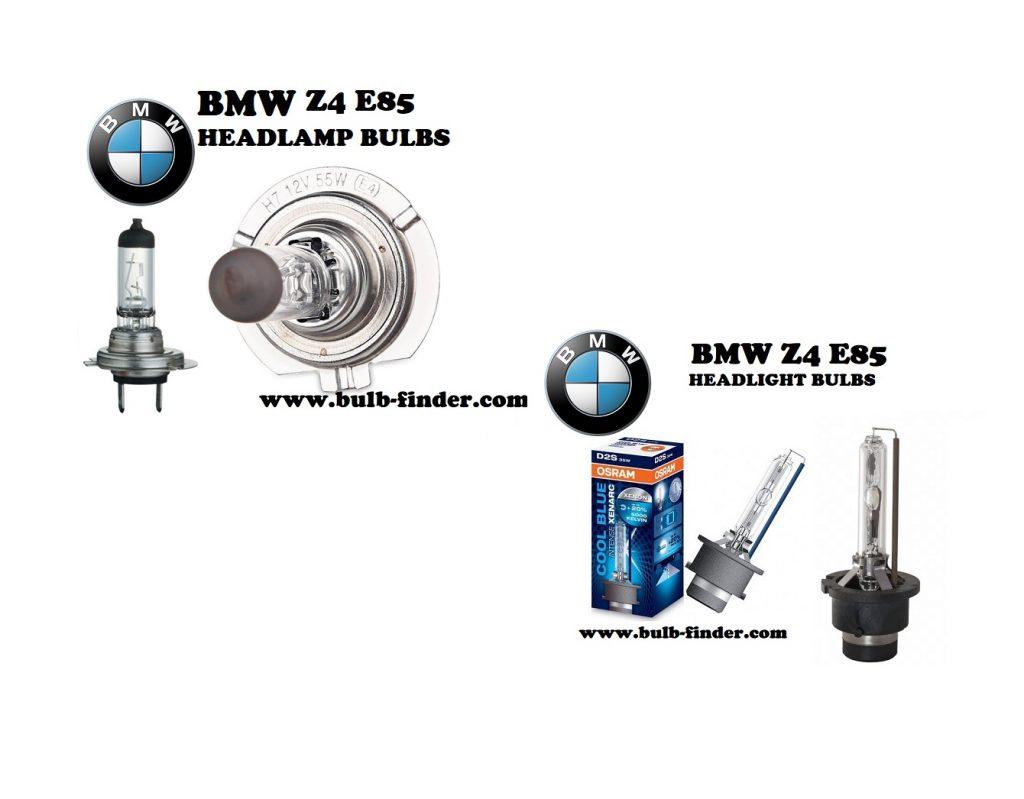 BMW Z4 E85 front headlamps bulbs type
