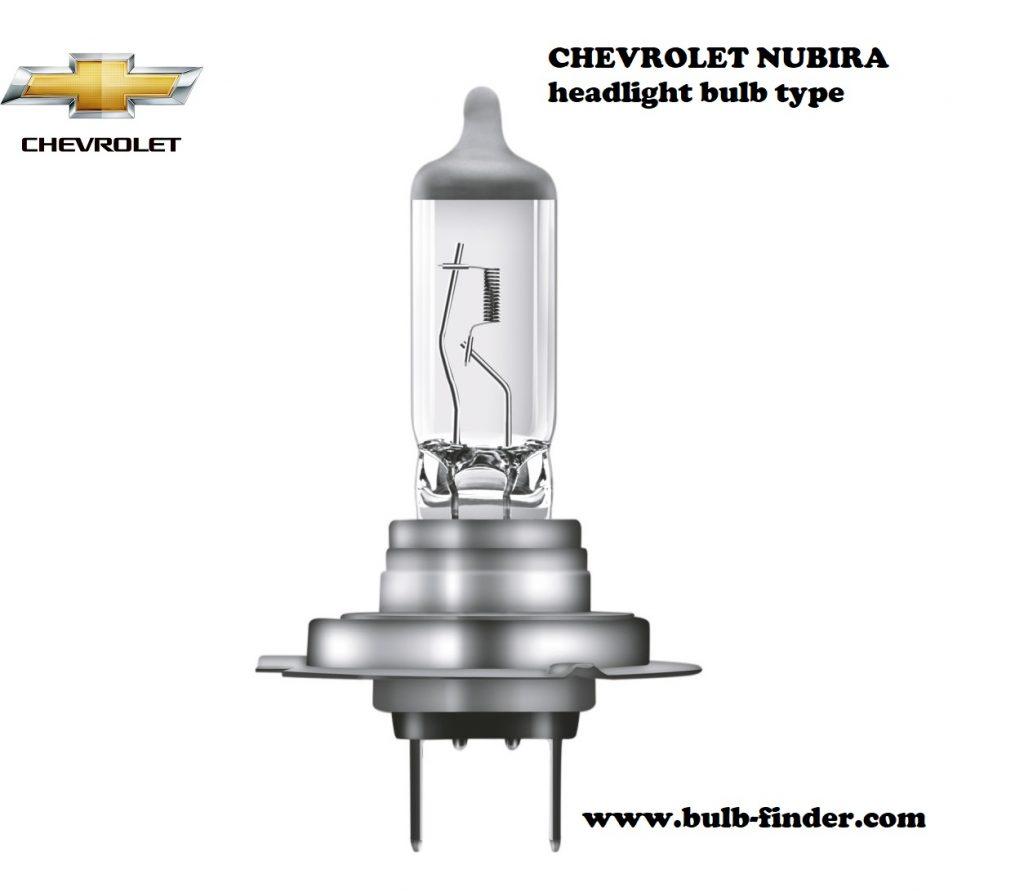 Chevrolet Nubira headlamp bulb specification
