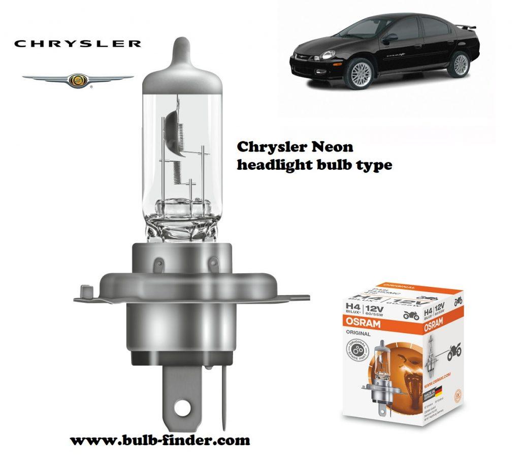 Chrysler Neon MK2 headlamp bulb specification