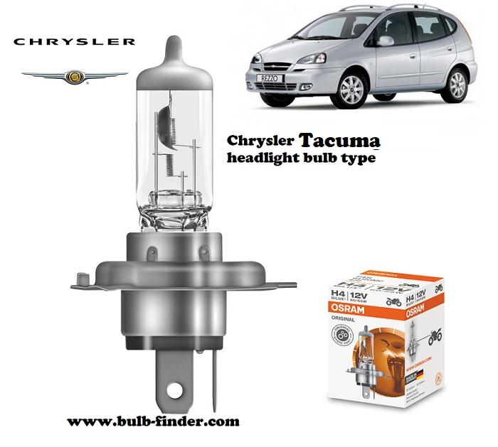 Chrysler Tacuma headlamp bulb specification
