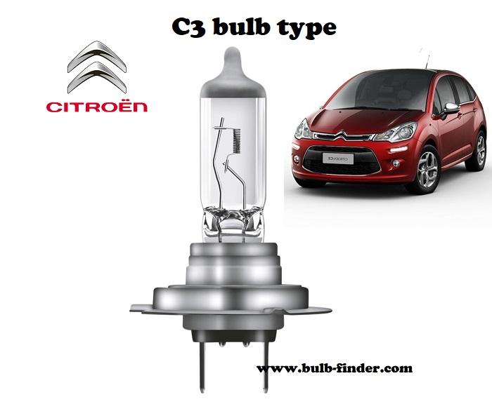 Citroen C3 headlamp bulb specification