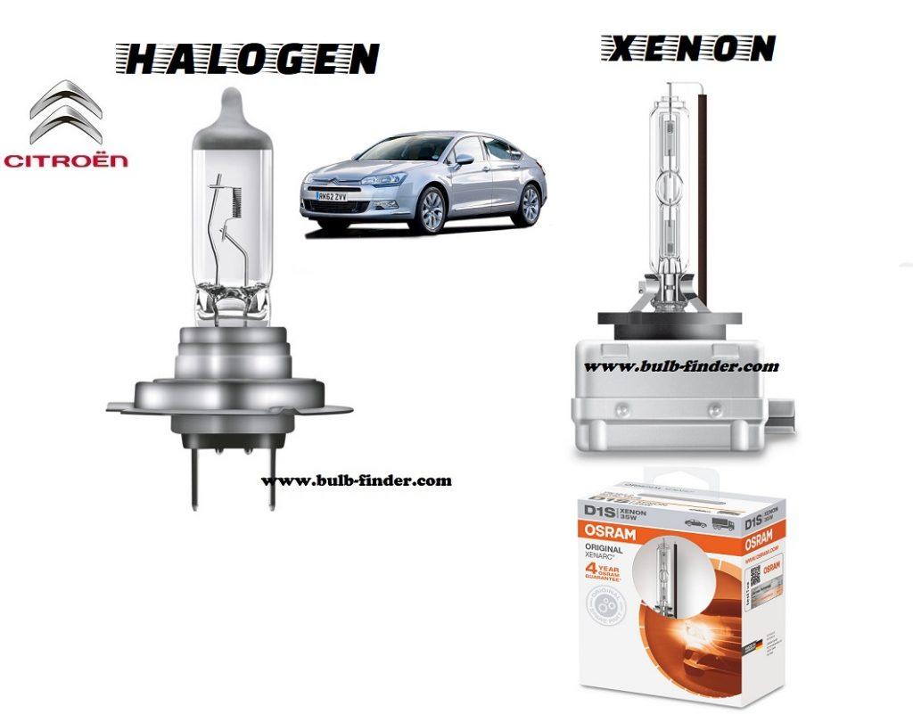 Citroen C5 headlamp bulb specification