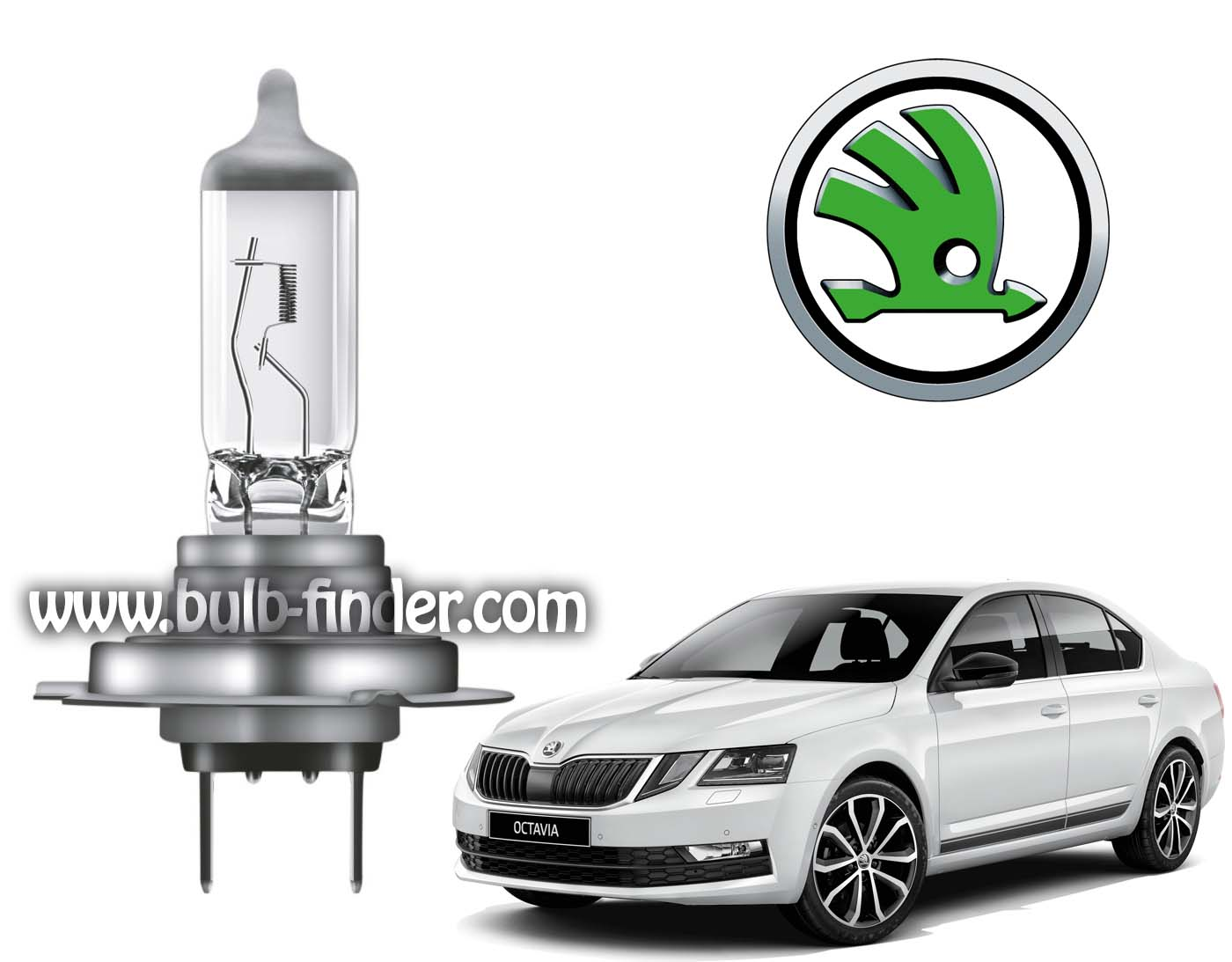 Skoda Octavia bulb model HIGHT BEAM HEADLIGHT