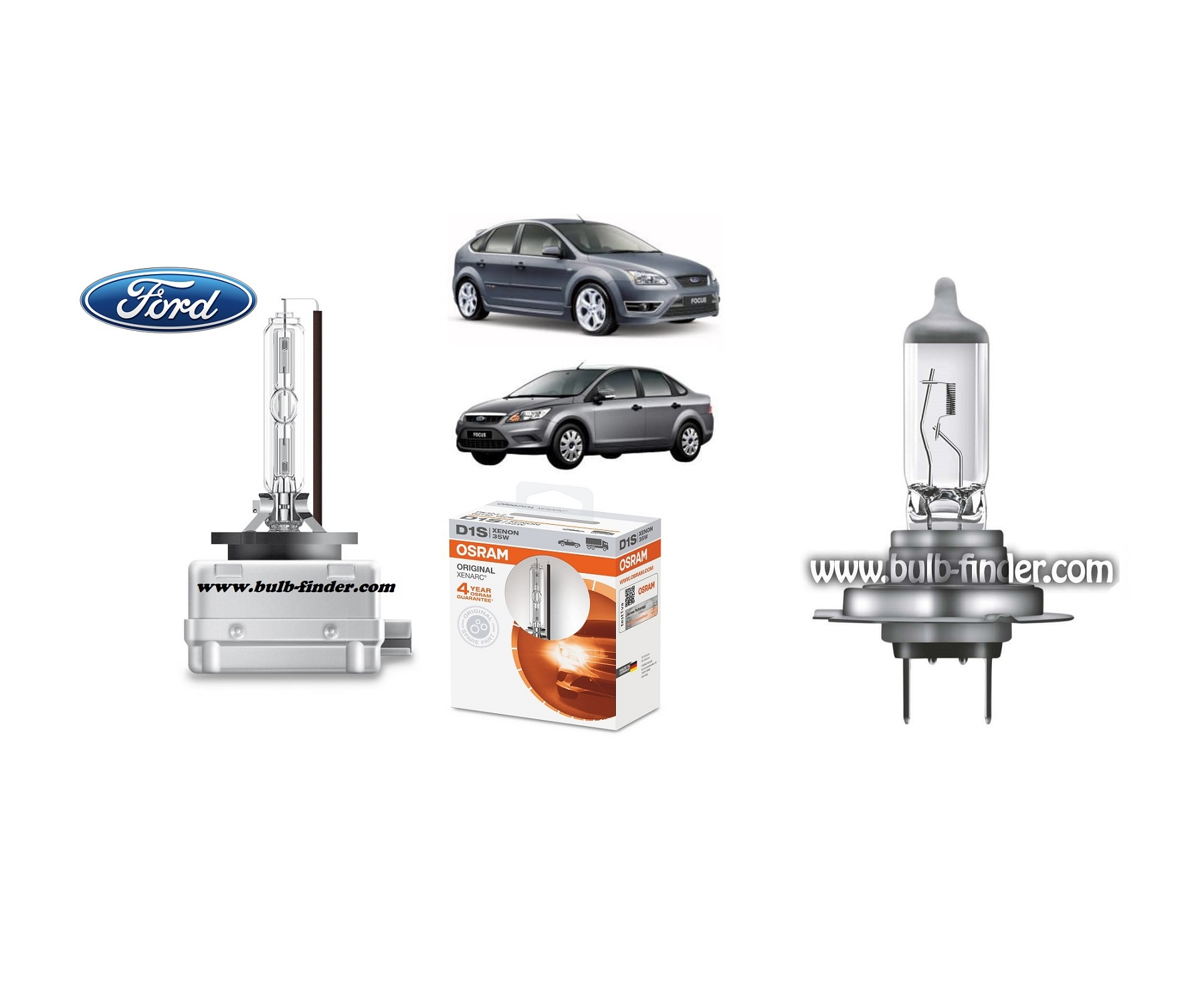 Ford Focus MK2 bulb model LOW BEAM specification