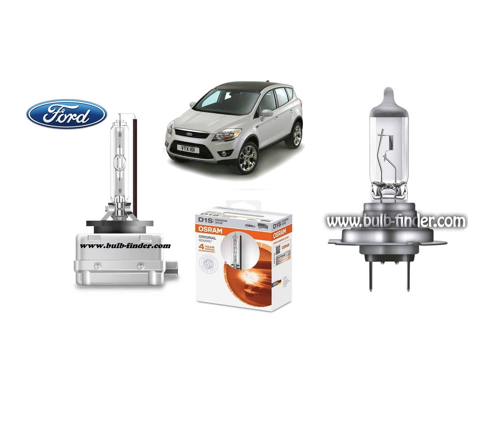 Ford Kuga 1 bulb model LOW BEAM specification