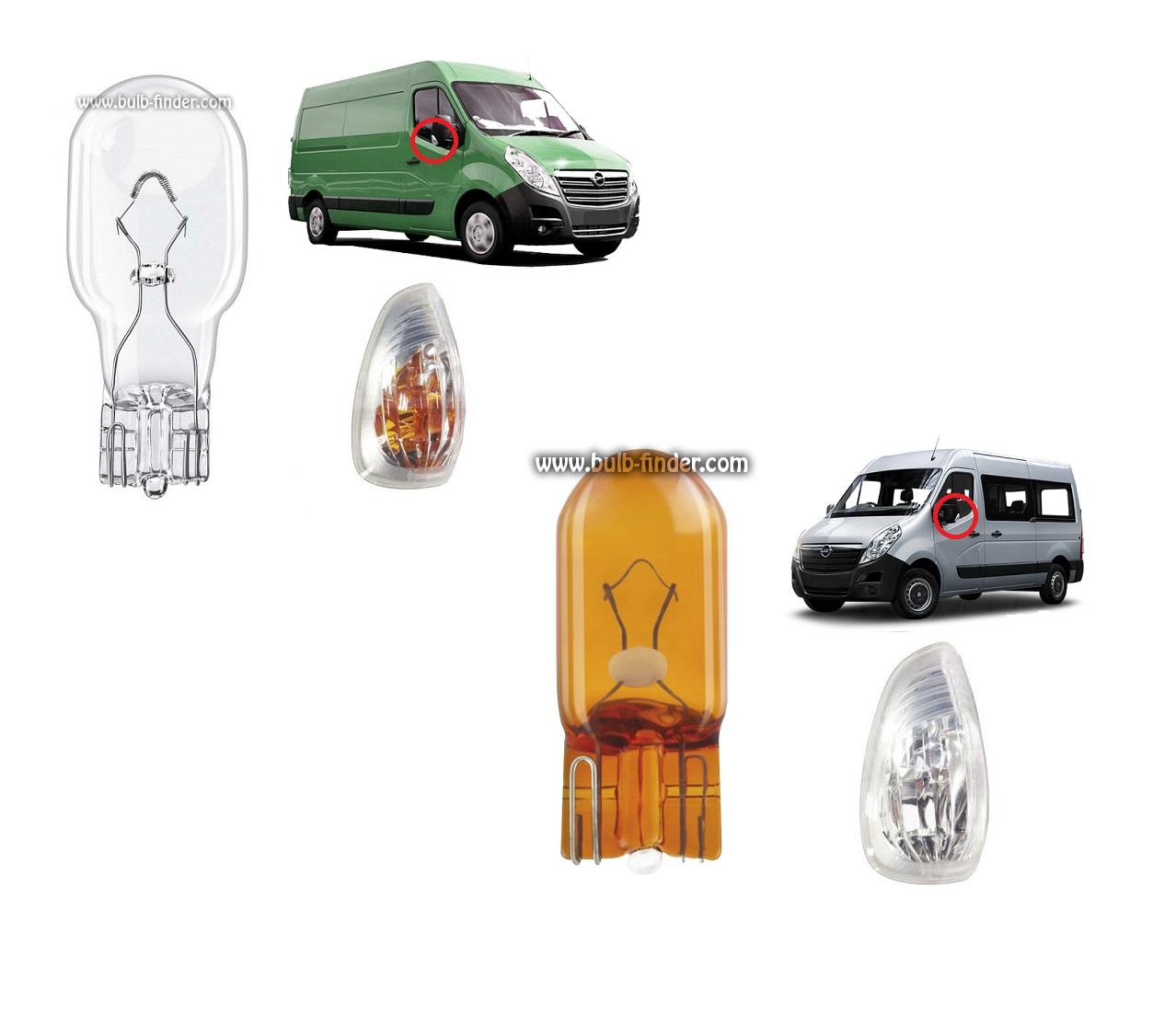 Opel Movano II bulbs specification for halogen headlamp