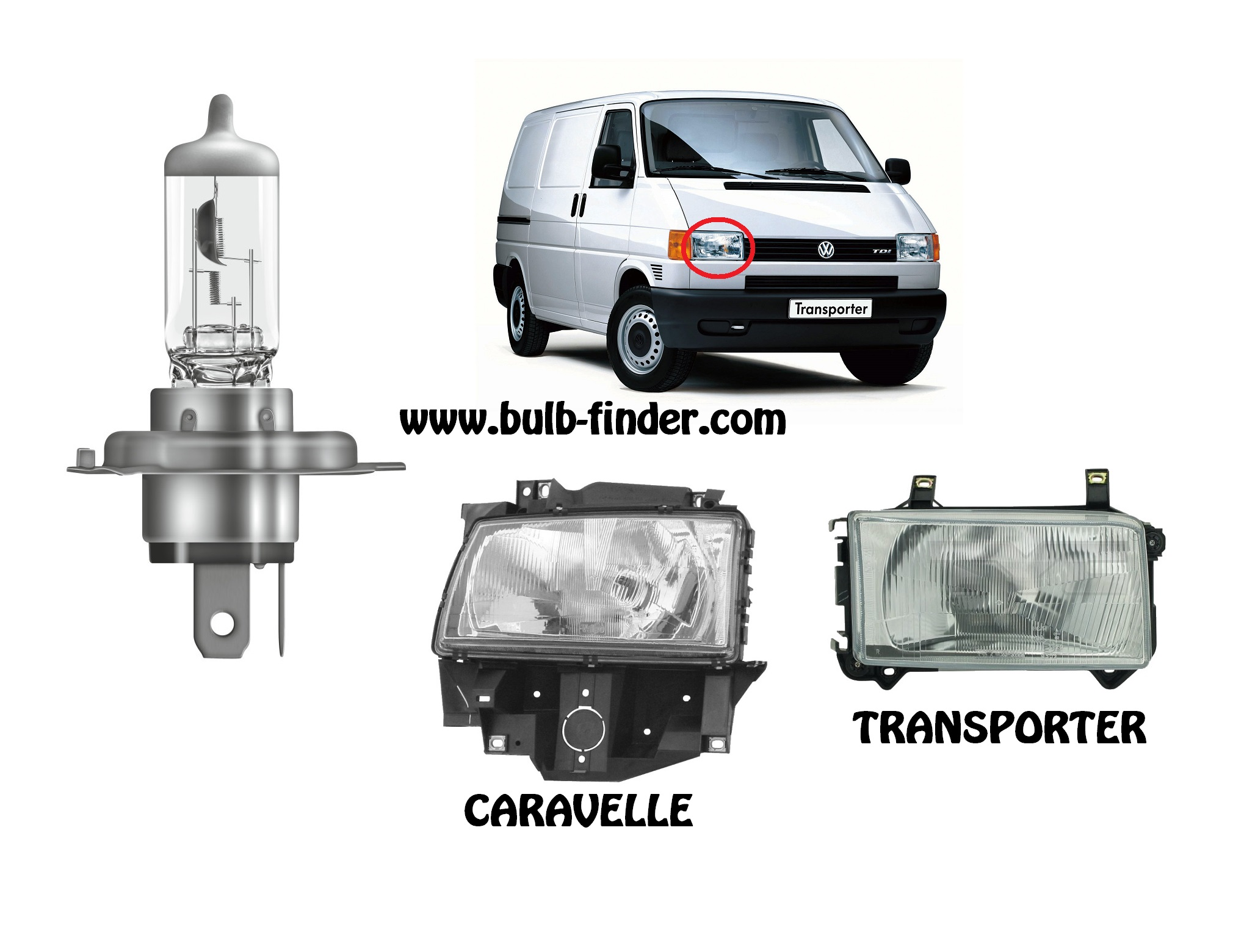 VW Transporter mk4 / Caravelle IV T4 bulbs specification for halogen headlamp
