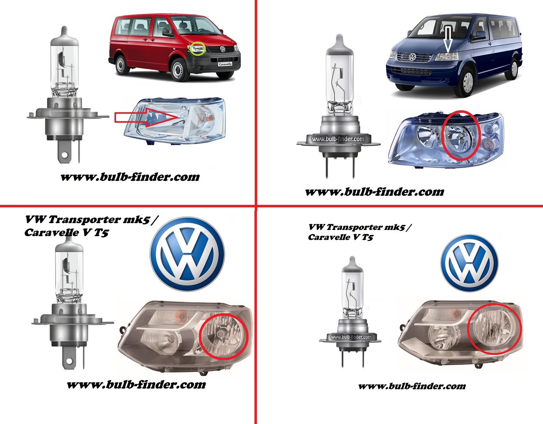 Volkswagen Transporter mk5 / Caravelle V T5 bulbs specification