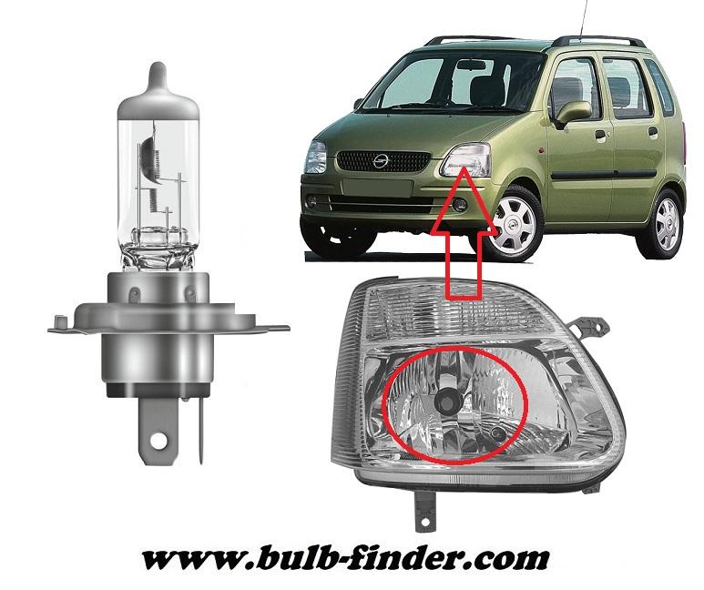 Vauxhall Agila bulbs specification for halogen headlamp