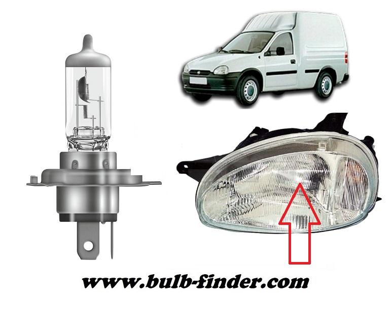 Vauxhall Combo Mk1 bulbs specification for halogen headlamp