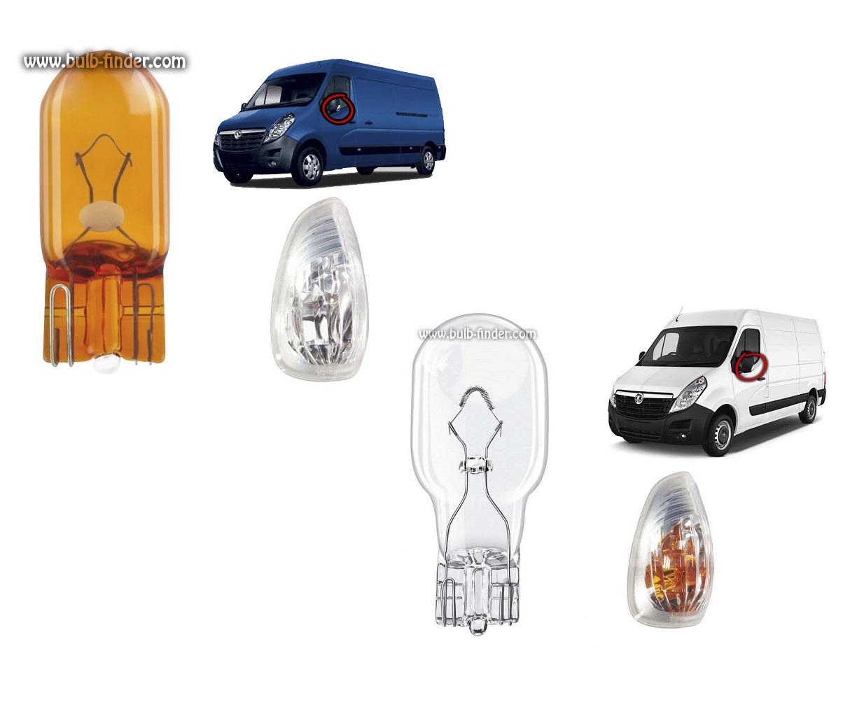 Vauxhall Movano II bulbs specification for halogen headlamp