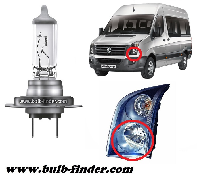 VW Crafter model bulb for LOW BEAM HEADLIGHT specification