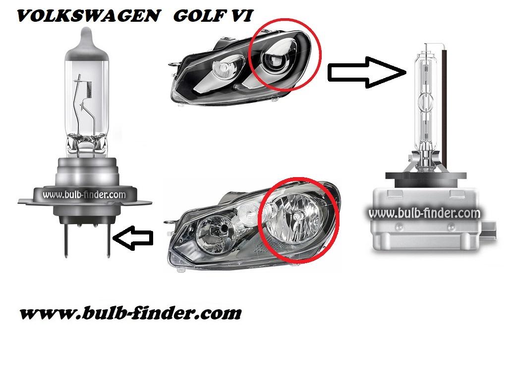 VW Golf mk6 model bulb for LOW BEAM HEADLIGHT specification