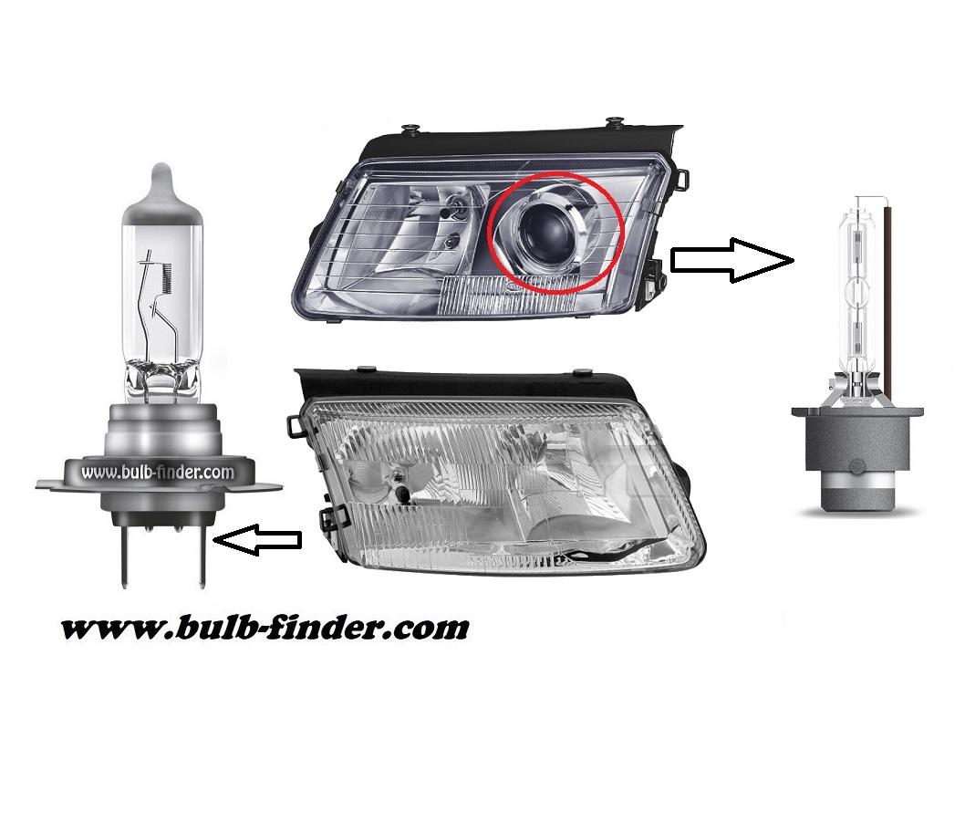 VW Passat B 5 model bulb for LOW BEAM HEADLIGHT specification