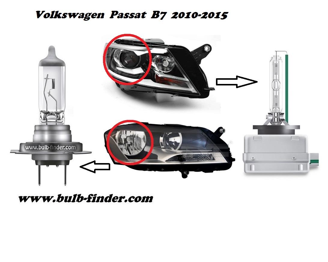 VW Passat B 7 model bulb for LOW BEAM HEADLIGHT specification