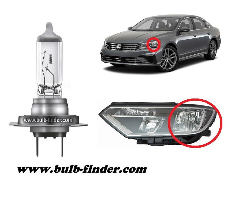 VW Passat B 8 model bulb for LOW BEAM HEADLIGHT specification