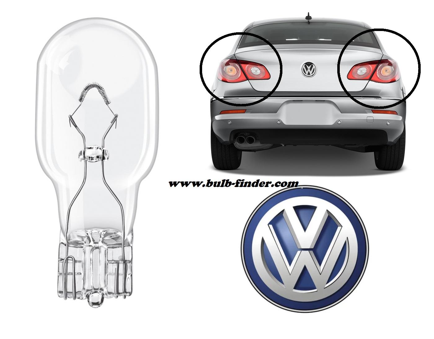 VW Passat CC 2008-2012 bulb type BRAKE STOP BACK LAMP spec