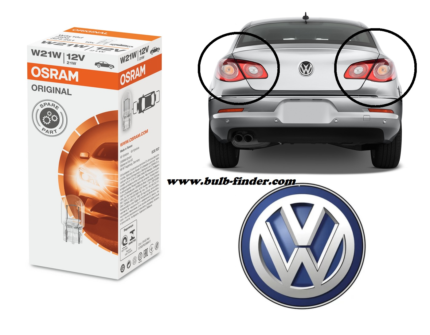 VW Passat CC 2008-2012 bulb type REAR FOG LIGHT spec