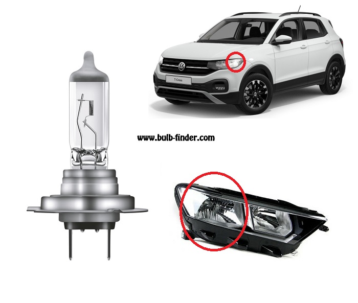 VW T-ROC bulbs specification for halogen headlamp