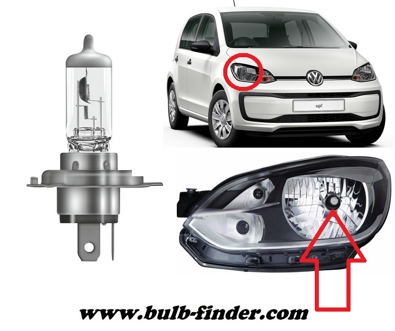 VW UP bulbs specification for halogen headlamp
