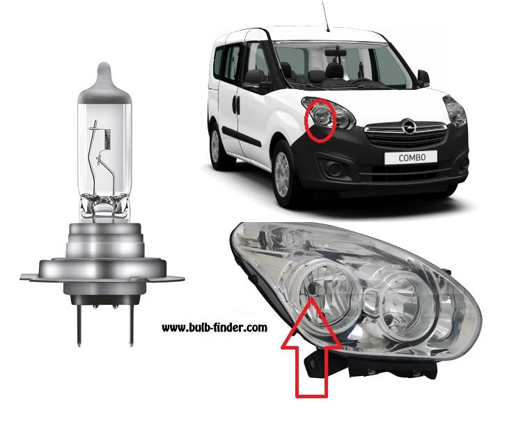 Vauxhall Combo III bulbs specification for halogen headlamp
