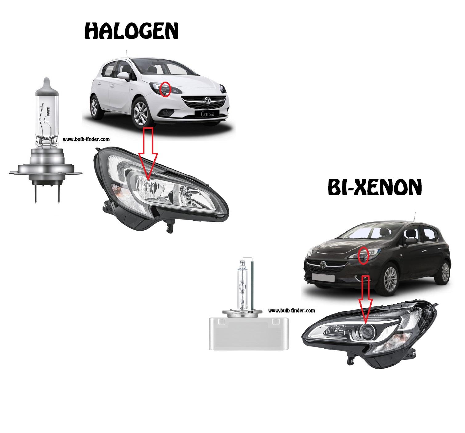 Vauxhall Corsa V bulbs specification for halogen headlamp