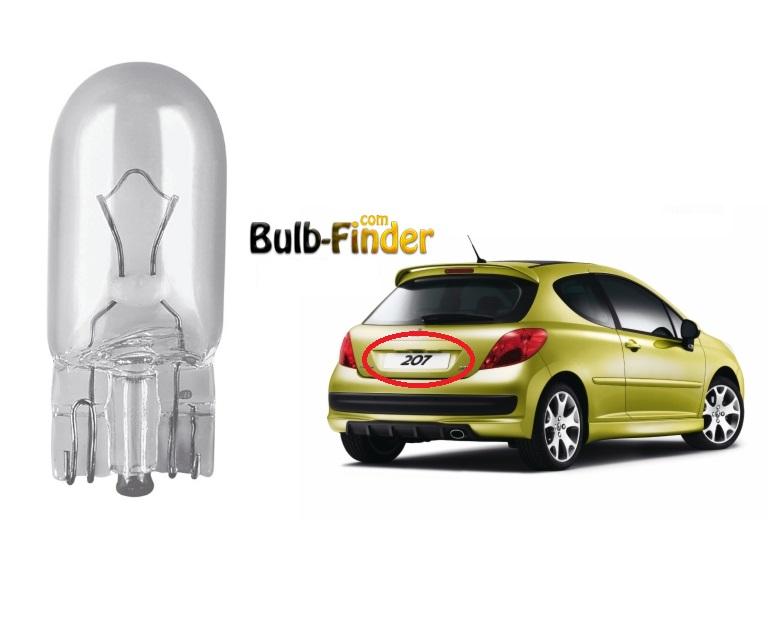 Peugeot 207 license plate lamp bulb model